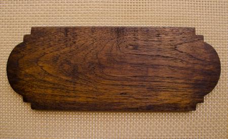 an empty teak wooden sign Standard-Bild