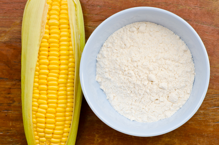 cornflour: Corn and starch on wood table
