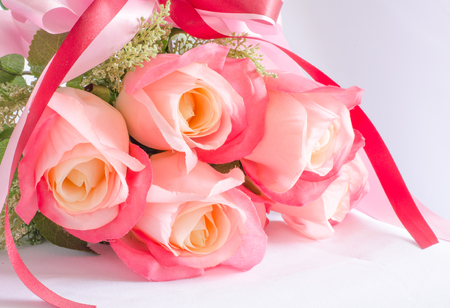 Bouquet of rose flowers on white background photo