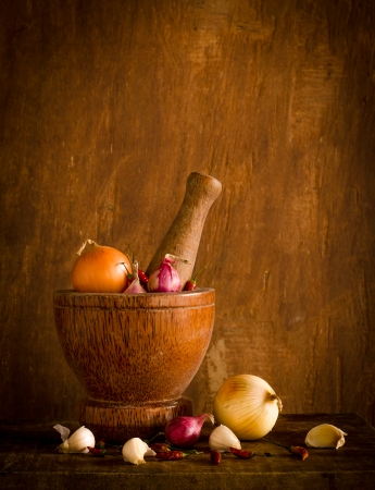 Pumpkin and many spices on wood table at kitchen,Still life  photo