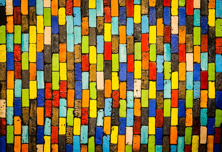 Colorful brick wall background Stock Photo