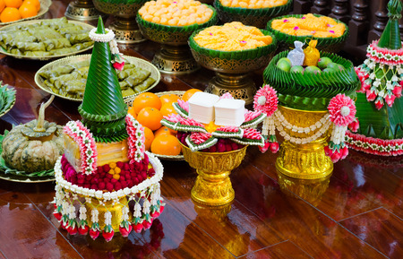Thai garland and sweet for Thai wedding ceremony