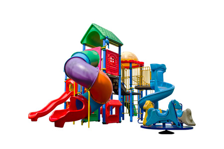 playground equipment: Colorful playground isolated on white background Stock Photo