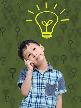 Asian schoolboy thinking with abstract green background and bulb photo