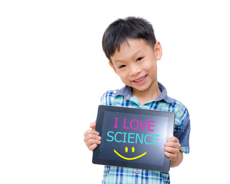 Little asian boy holding tablet computer with word  I love Science  on screen  Stock Photo