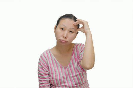 Asian woman have headache isolated on white background