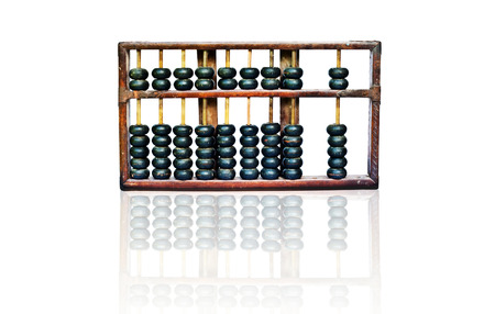 additional training: wooden abacus with reflection on white background