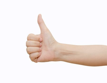 Hand with thumb up isolated on white background  Ok sign by woman  Stock Photo