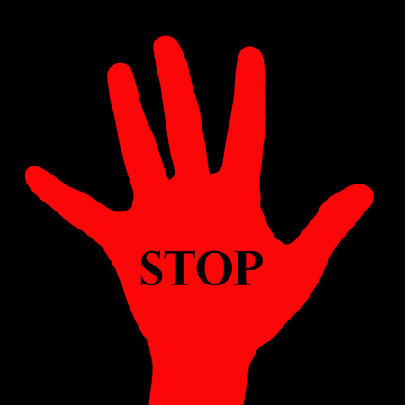 red hand: Red hand with word stop on black background  Stock Photo