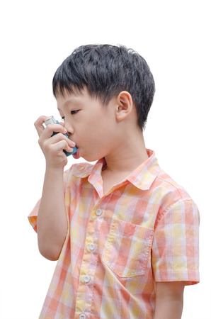 bronco: Asian boy using bronco dilator medicine on white background