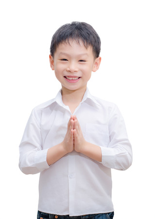 Little Asian boy welcome expression Sawasdee