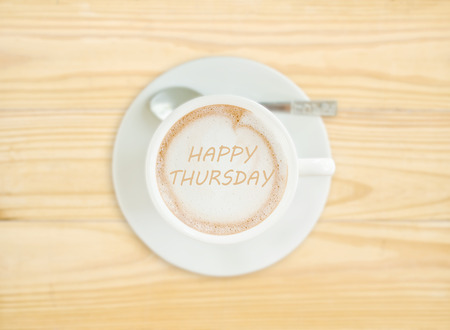 annoucement: Happy Thursday on Coffee Cup