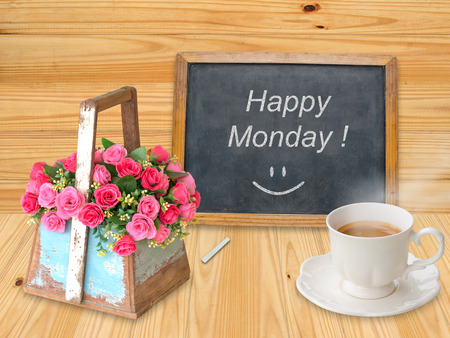 Happy Monday on chalkboard with coffee cup