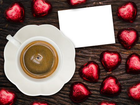 valentine day cup of coffee: St Valentines breakfast with coffee and chocolate