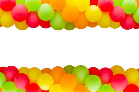 Kleurrijke ballonnen frame op witte achtergrond