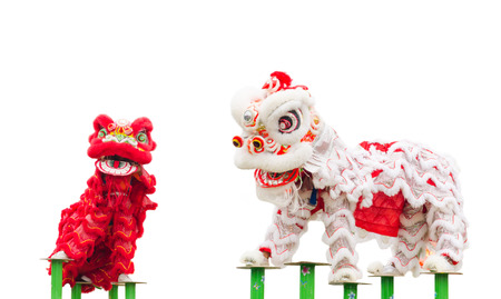 Chinese leeuw kostuum dans tijdens Chinees Nieuwjaar vieren