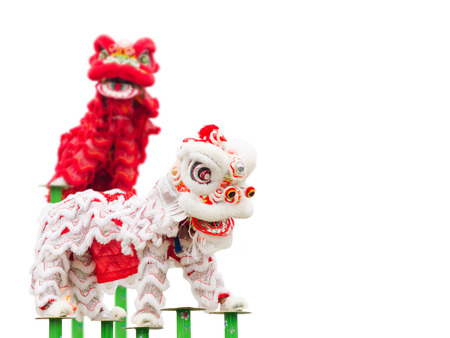 中国の新年の祭典の間に中国獅子舞衣装 写真素材