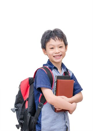 elementary students: Happy Asian student smiling over white background