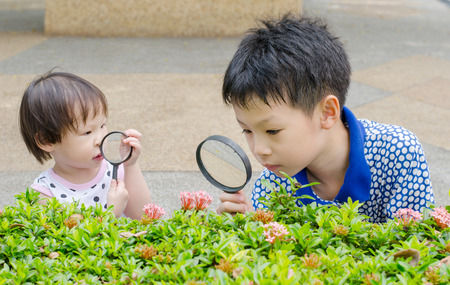 Children are using magnifying glass for exploring in garden