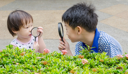Children are using magnifying glass for exploring in garden photo