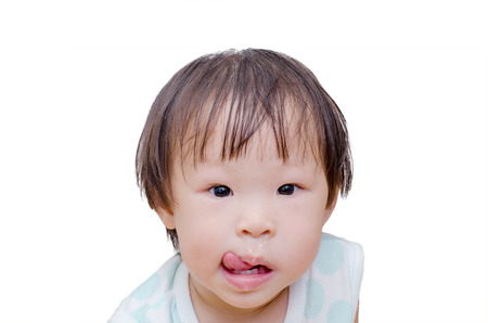 snot: Asian girl with snot flowing from her nose