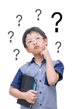 Asian boy thinking with question mark over white background