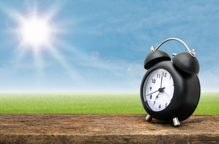 day time: Clock on wood table over green field background