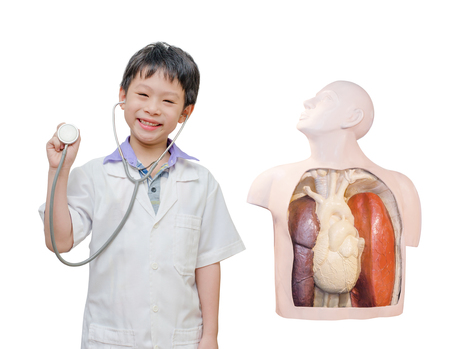 pretend: Little Asian boy pretend to be doctor with human skeleton model
