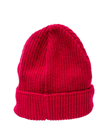 knitten: Red knit hat isolated over white with clipping path