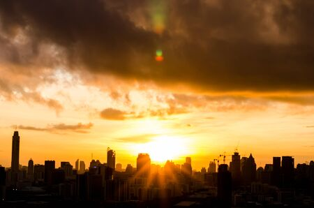time lapse: Sunrise over the city. Time lapse. High angle. Aerial view. Stock Photo