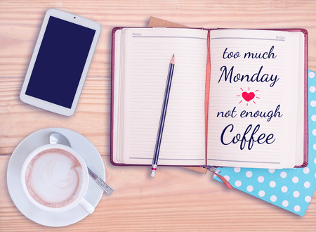 Quote on notebook with smart phone and coffee cup with vintage filter Stock Photo