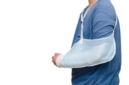 broken arm: Asian boy with broken arm over white background