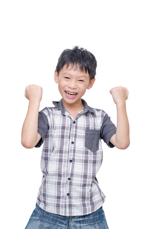kid portrait: Happy Asian boy isolated over white background
