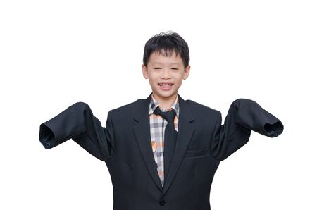 suit: Little Asian boy in big suit over white Stock Photo