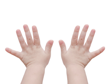 Baby hands over white Stock Photo - 48188162