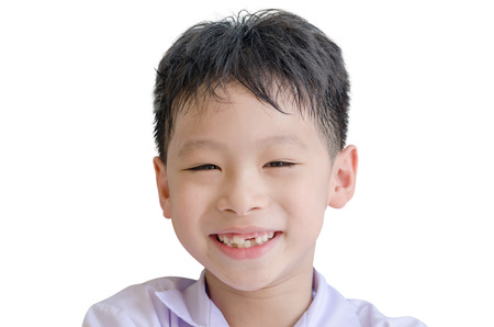 toothless: Happy Asian boy toothless smile close-up,new teeth rising Stock Photo