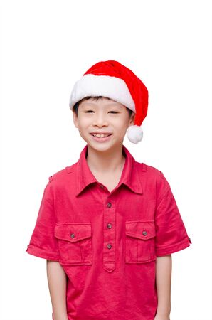 red tshirt: Asian child in red t-shirt and hat over white Stock Photo