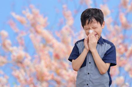 Kleine Aziatische jongen heeft allergieën van bloem pollen