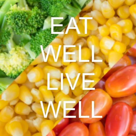 Gute Zitat auf Gemüse Hintergrund, gut essen gut leben