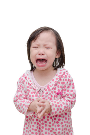 crying eyes: Little Asian girl crying over white
