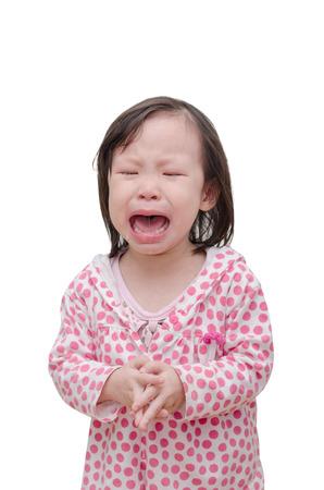 ojos llorando: Niña asiática llorando sobre blanco Foto de archivo