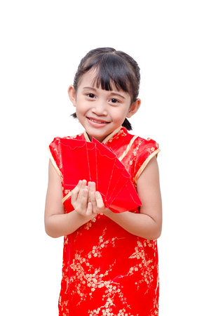 red packet: Young Asian girl in traditional chinese dress holding red packet
