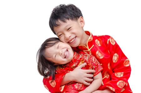niñas chinas: Los niños chinos sonríe sobre el fondo blanco