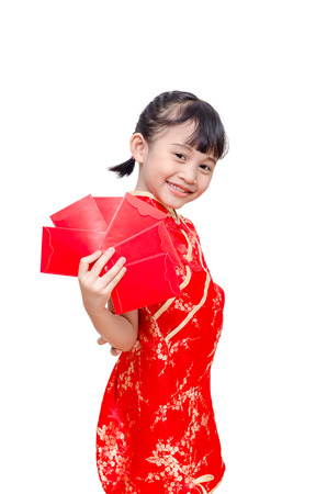 red packet: Young Asian girl in chinese traditional dress holding red packet money
