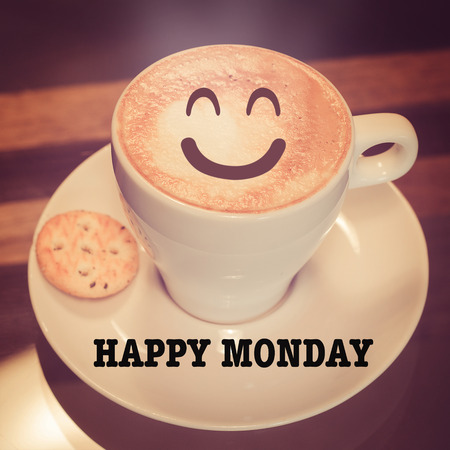 hedonism: Happy monday with smile coffee cup Stock Photo
