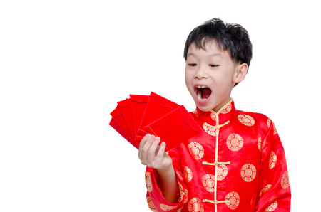 red packet: Young Asian boy with red packet money