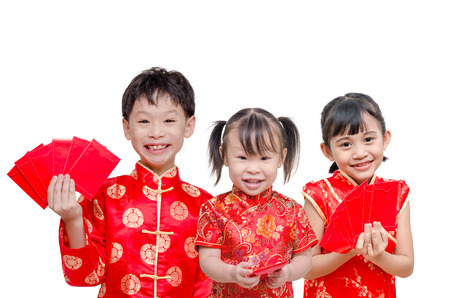 red packet: Little Asian children holding red packet money over white Stock Photo