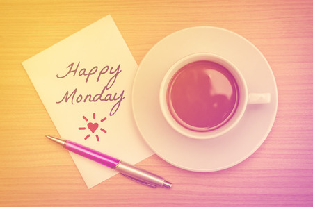 Happy Monday on paper note with coffee cup