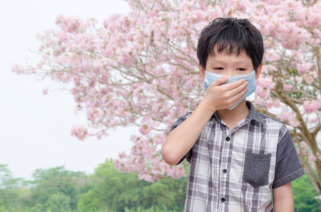 Asian boy have allergy from flower pollen Stock Photo