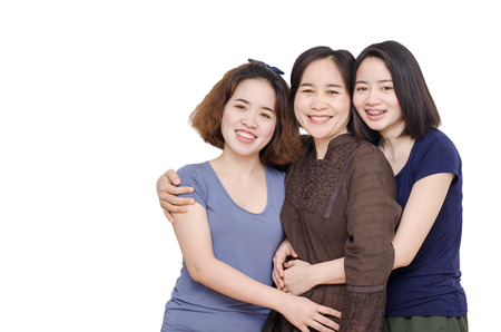 Happy Asian mother with her daughter over white